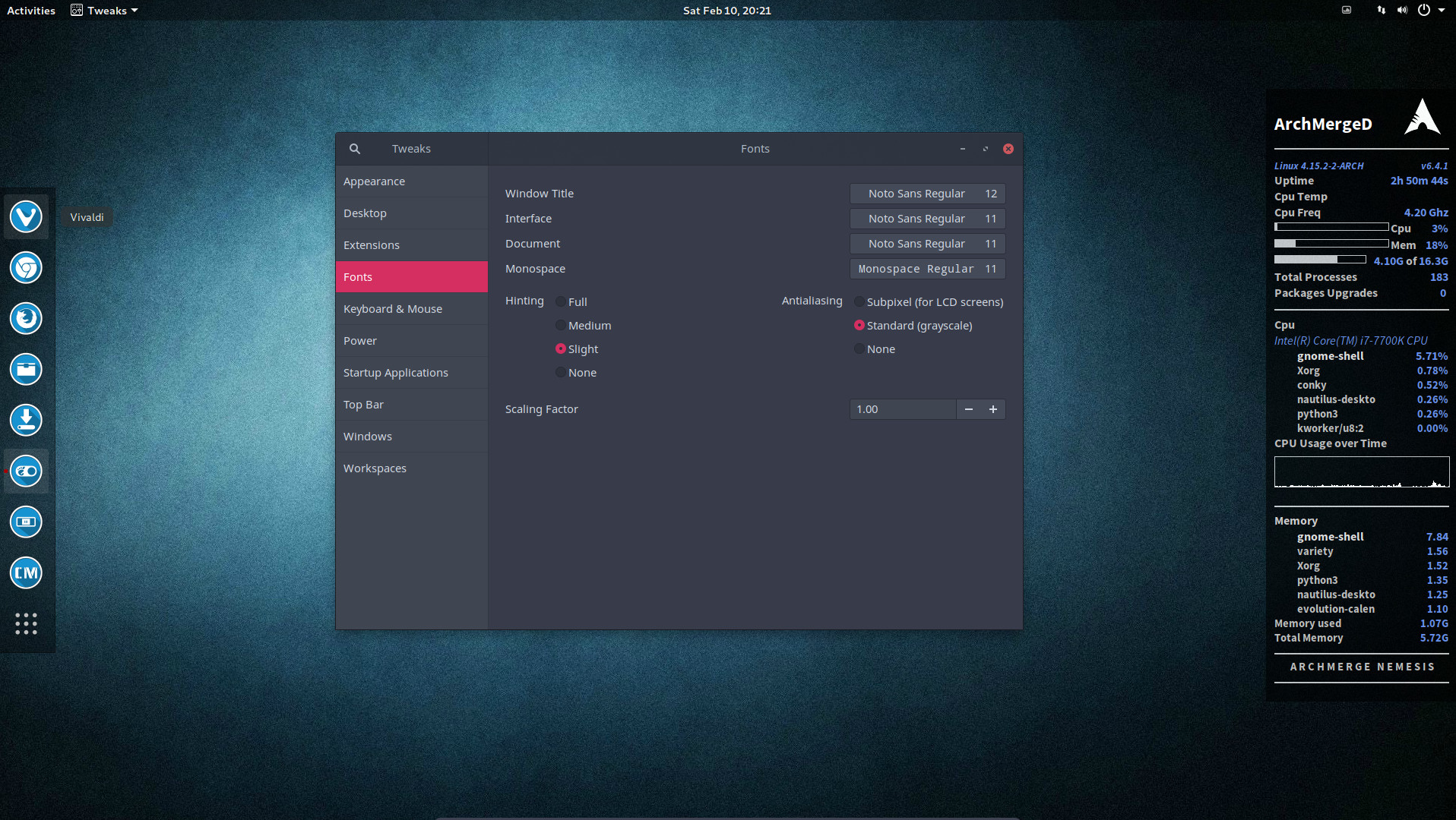 9 Change the gnome settings with your gnome tweak tool | Arcolinuxd com