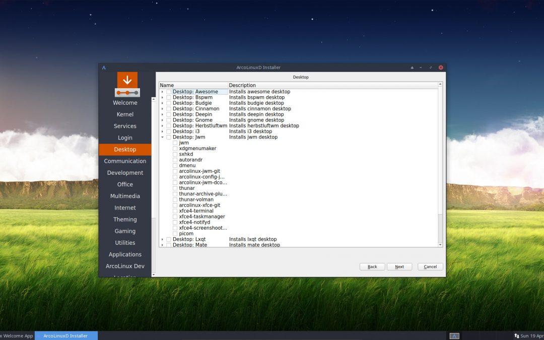 1 – Installation of ArcoLinuxD Jwm
